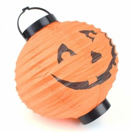 Halloween LED Paper Pumpkin Hanging Lantern Holiday Party Decoration Orange