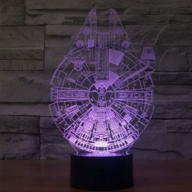3D Illusion Night Light 7-Color LED Star Wars Millennium Falcon Shape