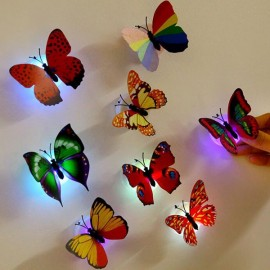 6pcs 3D LED Butterfly Night Light Sticker Multicolor for Home Decor