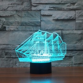 Creative 3D LED Sailing Ship Illusion Design 7-Color Night Light