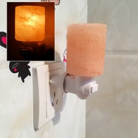 Crystal Himalayan Wall Salt Light Cylinder Shape Natural Salt Rock Tealight Air Purifyer Night Table Lamp EU Plug Amber