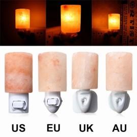 Crystal Himalayan Wall Salt Light Cylinder Shape Natural Salt Rock Tealight Air Purifyer Night Table Lamp US Plug Amber