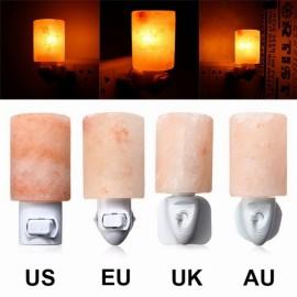 Crystal Himalayan Wall Salt Light Cylinder Shape Natural Salt Rock Tealight Air Purifyer Night Table Lamp UK Plug Amber