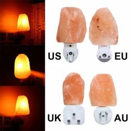 Mini Cute Hand Carved Natural Crystal Himalayan Salt Wall Lamp Night Light US Plug Amber