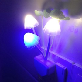 LED Night Light Lotus Leaf Mushroom Wall Lamp Sensor - US Plug