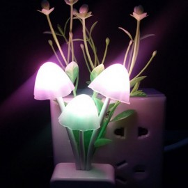 LED Night Light Romantic Colorful Grass Mushroom Sensor Wall Lamp - US Plug