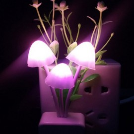 LED Sensor Night Light Romantic Colorful Grass Mushroom Wall Lamp - EU Plug