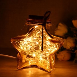 Modern Novel Lucky Star Shaped Micro Landscape Glass Bottle LED Table Lamp Brown