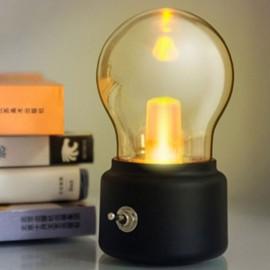 Retro 10W LED Globe Light Bulb USB Rechargeable Table Lamp Black Base