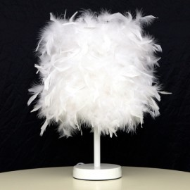 Concise Feather E27 Hotel Home Decorative Desk Lamp with Button Switch White & US Plug & Medium