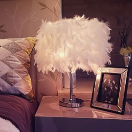 Concise Feather E27 Hotel Home Decorative Desk Lamp with Remote Control Switch White & US Plug & Medium