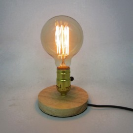 E26 Vintage Industrial Table Edison Light Bulb Desk Wood Socket Dimmable Lamp EU Plug