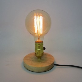 E26 Vintage Industrial Table Edison Light Bulb Desk Wood Socket Dimmable Lamp UK Plug