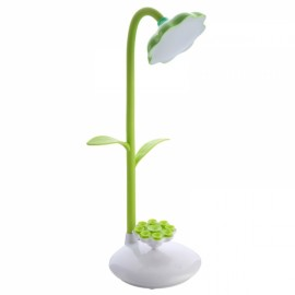 360 Degree Rotatable Sunflower USB Rechargeable Touch Control Dimmable LED Desk Table Lamp LED Night Light with Phone Stand Light Green