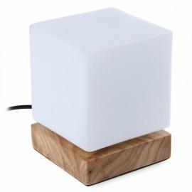 E27 Square Shaped LED Desk Lamp Wooden Base Table Lamp White & Wood Color