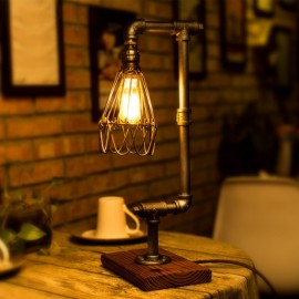 Loft Vintage Industrial Water Pipe Table Light Edison Desk Accent Wood Lamp Cafe Ancient Silver(220V)
