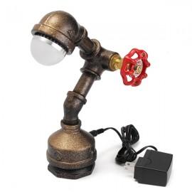 Vintage Industrial Retro Iron Pipe Desk Table Lamp Light Edison Light Bulb (220V)