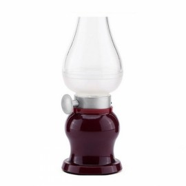 Led Lamp USB Rechargeable Blowing Control Kerosence Candle Night Light Desk Table Lamp Wine Red