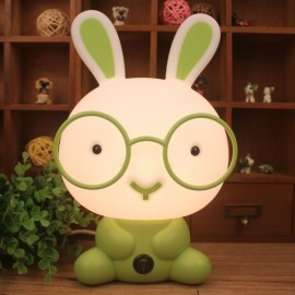 Pretty Cute Rabbit Dog Cartoon Animal LED Night Light Baby Room Sleeping Light Bedroom Desk Lamp Night Lamp Best for Gifts Smart Rabbit Green