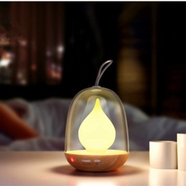 Color Changeable Timing Flame LED Light USB Charging Atmosphere Light Lamp Portable LED Night Light Living Room Bedroom Light Wood Grain