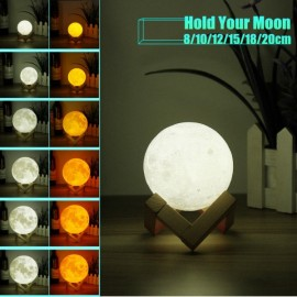 "3.94"" LED Luna Night Light USB 3D Printing Moon Lamp Touch Sensor"