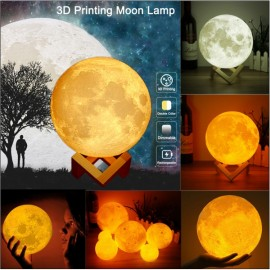 "4.72"" Touch Sensor 3D Printing Moon Lamp USB LED Night Light Color Changing"