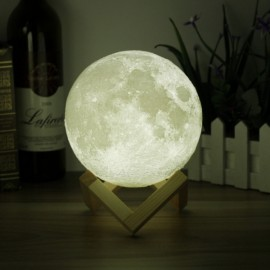 """7.87"""" USB Rechargeable 3D Printing Moon Luna LED Night Light Touch Sensor"""