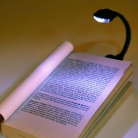 Portable Flexible Mini Clip On Book Bright White Reading Lamp Black