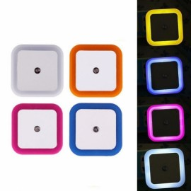 Square Shape Light Control Sensor Night Light Blue US Plug