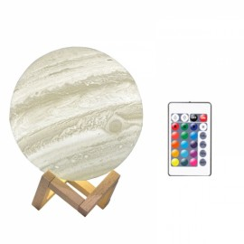 20cm 3D LED Desk Lamp Remote Control Jupiter Light USB Rechargeable 16 Colors Change