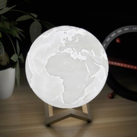 12cm 3D LED Earth Light Remote Desk Lamp USB Rechargeable 3 Discoloration
