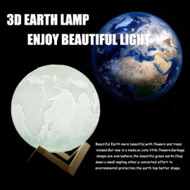 20cm 3D LED Earth Light Remote Desk Lamp USB Rechargeable 3 Discoloration