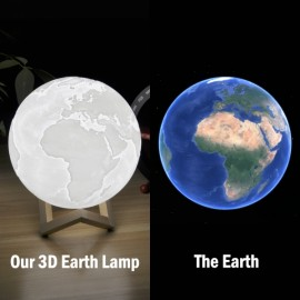 8cm 3D LED Earth Light Remote Desk Lamp USB Rechargeable 3 Discoloration