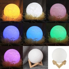 8cm 3D LED Earth Light Remote Desk Lamp USB Rechargeable 7 Discoloration