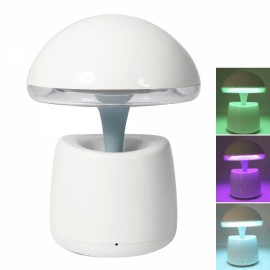 European Style Mushroom Shape Wireless Bluetooth Speaker Changeable Light Lamp White & Blue