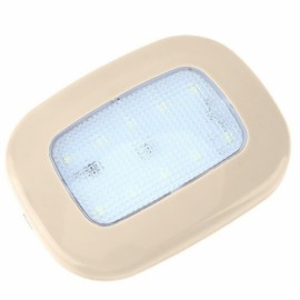 Car Reading Light Auto USB Charging Roof Magnet Auto Day Light Trunk Day Time Interior Square Dome Vehicle Indoor Ceiling Lamp Beige Shell Ice Blue Light