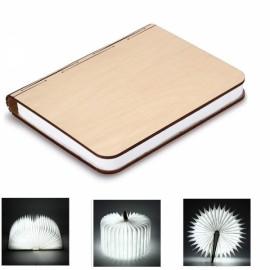Creative USB Rechargable Book Shaped Wooden Folding Light LED Magnetic Desk Table Lamp for Decor - Cool White