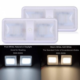 2 Color Mode LED RV Ceiling Dome Light - Pure White Light