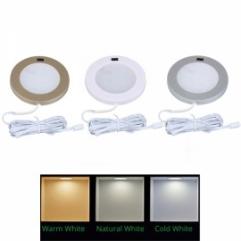 3W 21 LED Round Ultra Thin Hand Sweep Sensor Closet Cabinet Light White Shell