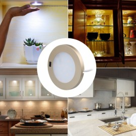 3W 21 LED Round Ultra Thin Hand Sweep Sensor Closet Cabinet Light Natural White Light