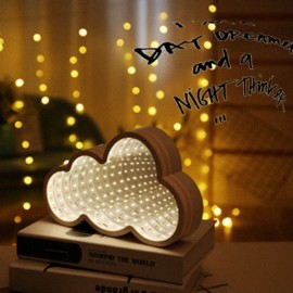 3D LED Tunnel Lamp Infinity Mirror Night Light- White Clouds