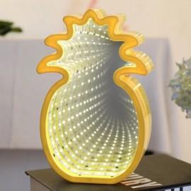 3D LED Tunnel Lamp Infinity Mirror Night Light - Pineapple