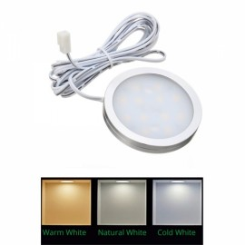 12V 2.5W 12LED Recessed Down Light Car Interior Lighting Interior Roof Ceiling Light Cabinet Lamp - Side Wired Cold White