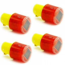 4pcs Solar Powered LED Traffic Strobe Emergency Beacon Warning Light Alarm