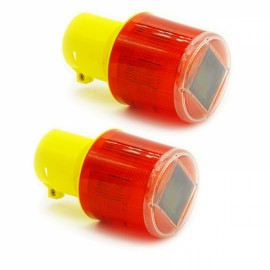 2pcs Solar Powered LED Traffic Strobe Emergency Beacon Warning Light Alarm