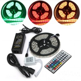 LED Light Strip Set 12V 5M 72W SMD5050 300LED RGB IR44 Epoxy Waterproof W/ Lamp Plate