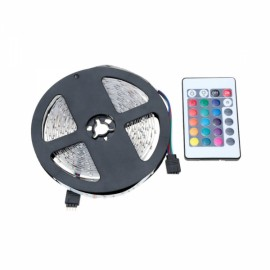 60-LED 3528SMD RGB LED Strip Light with 24-Key RF Remote Controller & Adapter Black