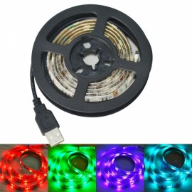 USB 5V 15W 120-SMD 5050 Colorful RGB 120-LED Strip with 3-Key Controller (1.8m) White & Black