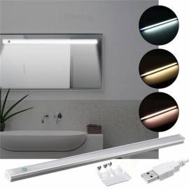 37CM 5W Dimmable USB LED Rigid Strip Hard Bar Light Tube Mirror Lamp + Touch Switch - White