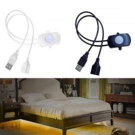 PIR Infrared Motion Sensor Detector USB LED Light Strip Switch for Corridor Closet - White